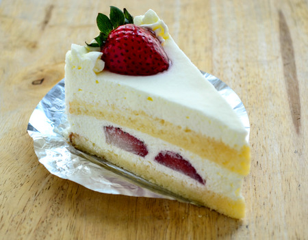 piece of cake: A piece of strawberry cake, it delicious