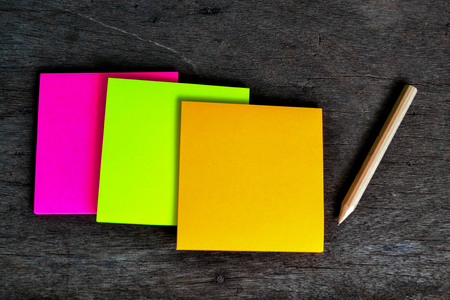 message board: Colorful post note and wooden pencil is ready to use