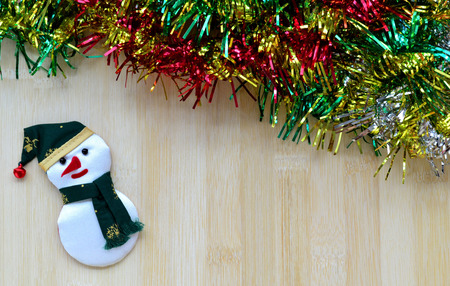 snowman wood: Snowman on wood board background