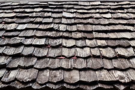 cedar shakes: Old wooden roof background texture Stock Photo