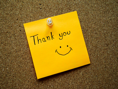 writting: Writting Thank you on post note for someone
