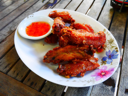 Chicken fried with herb is thai food