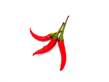 Three red chilli isolated on white background Stock Photo