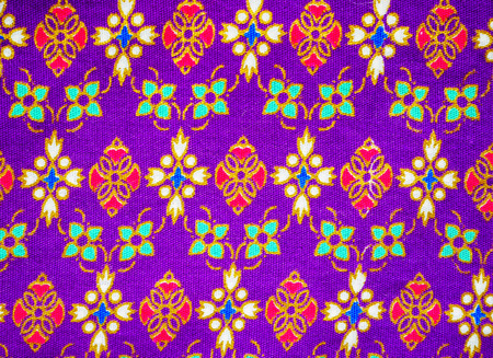 Thai style art painting on fabric background pattern