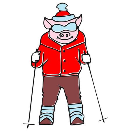deportes caricatura: El conjunto del vector - cerdo divertido de la historieta Vectores