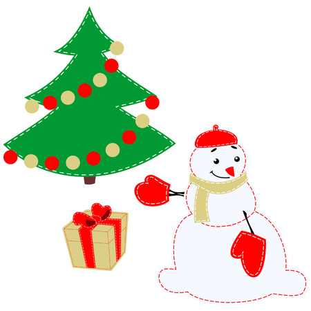 dar un regalo: Snowman give a gift. Cheerful snowman presents a Christmas gift. Cute winter characters in flat style. Character Christmas greeting cards and web banners