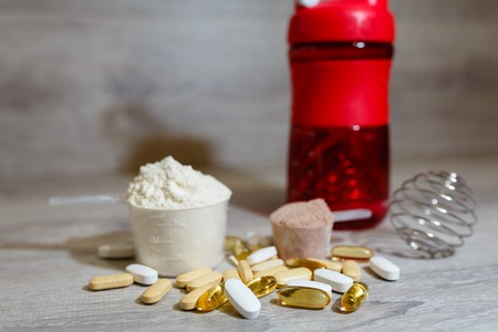 Omega 3 tablets and capsules, carnitine, creatine, fat burners, BCAA or testosterone booster.