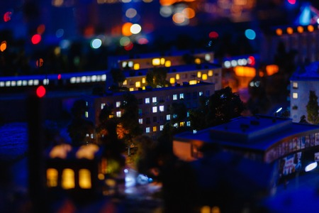 View of the night city, a toy model of the city. Russia, Saint-Petersburg, the Museum Grand model Russia, city transport and the production in miniature.