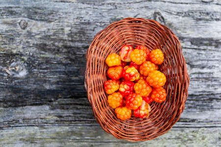 Handful of Cloudberry in wooden basket on an old wooden board background. Healthy diet. Collecting forest ripe cloudberries from the forest. Summer berry. View from the top. Standard-Bild - 151418647