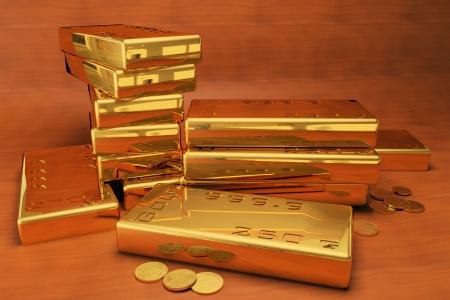 999 gold bars Stock Photo