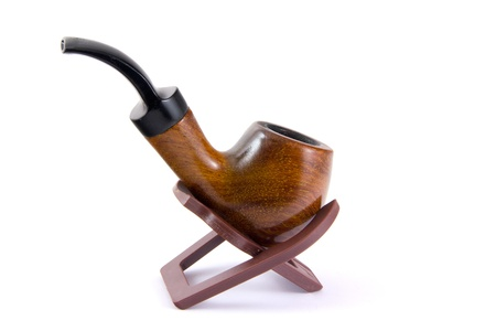 Wooden smoking pipe Stock Photo