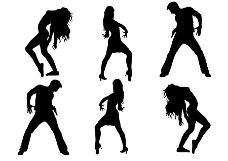 Dancing Silhouette Dance, graphics, on a white background