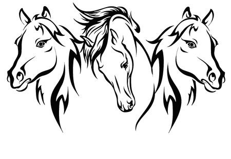 Trzy konie, format wektorowy, obwód koni trzy.