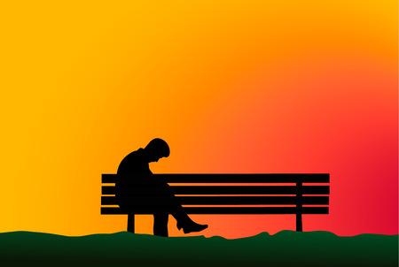 alone in the dark: sadness, depression, vector silhouette.