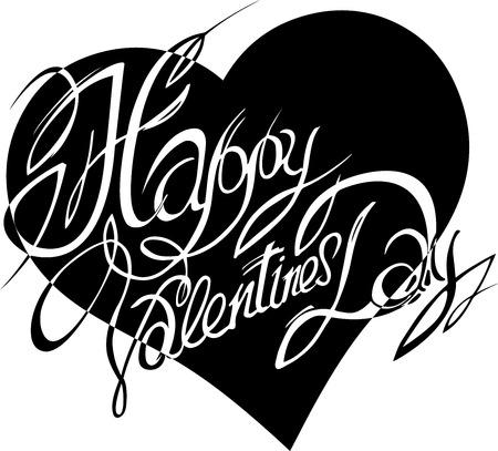 San Valentino, lettering su uno sfondo di cuori astratti.