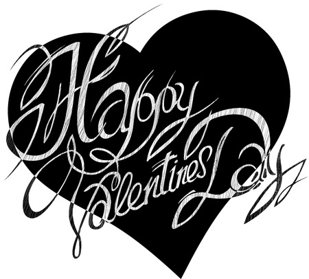 baptismal: Valentines Day, lettering on a background of abstract hearts.