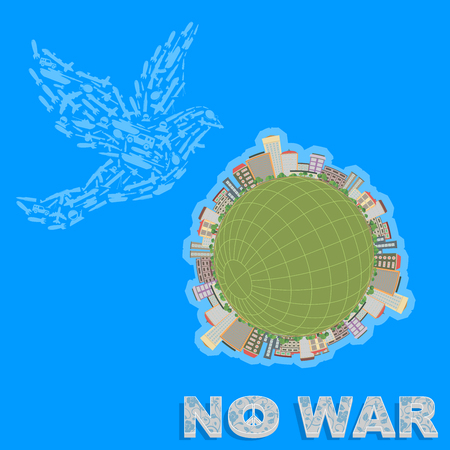 Propaganda poster calling for peace in all countries, there is no war, graphic design, vector illustration, dove symbol of peace.