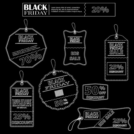 precise: Set of stickers in black and white for sales on Black Friday.