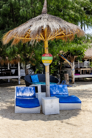 Beach holidays on the islands favorite beach, a favorite chaise.