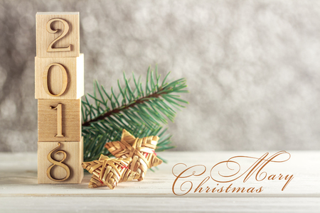 Christmas card. Ready design. Place for Your text. New 2018