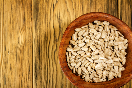 Sunflower seeds peeled. Rustic style. Ready for use. Stock Photo