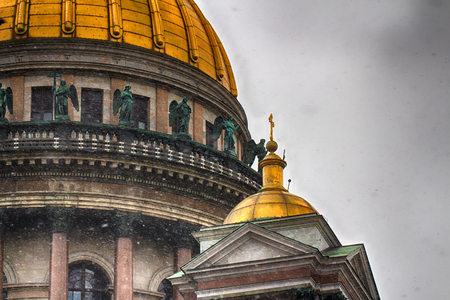 The dome of St. Isaacs Cathedral. Holy temple. Russia, Saint-Petersburg. Stock Photo