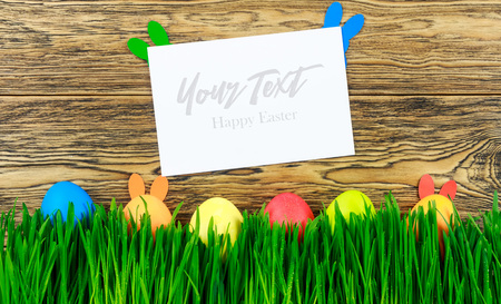 happy Easter. Ready postcard, the ability to write your own text. Bright spring fresh grass. Stock Photo