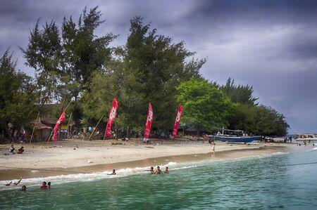 The island of Gili. Main pier of Gili Air island, Indonesia 01.01.2017 10: 20 am 報道画像