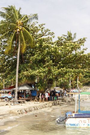 The island of Gili. The main pier of the island of Gili air selling tickets on boats, Indonesia 01.01.2017 11:03 am