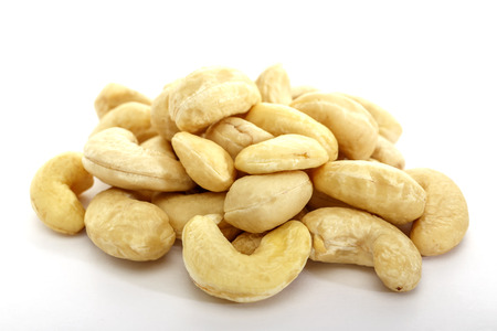 Cashew nuts on white background. Isolated nuts. Natural product.