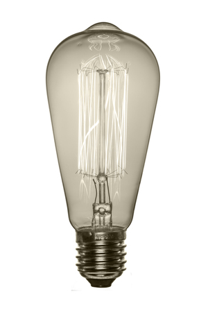 Retro light bulb, Edison style. Isolated object on a white background. Black and white image.