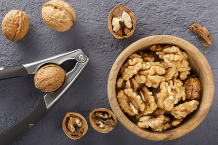 Walnut with walnut. Peeled walnut. Vegetarian food. Natural product. 写真素材