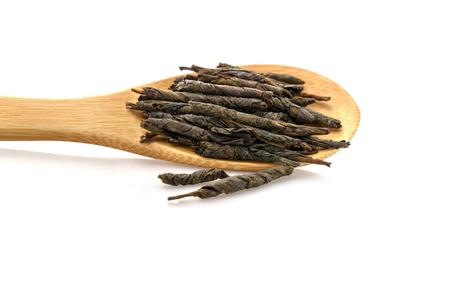 Green tea Kudin. Chinese high-quality premium tea. Isolated on white background. Stok Fotoğraf