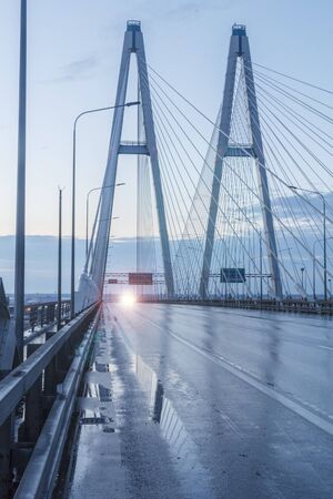 Big Obukhov bridge, early morning. Cable-stayed bridge, Russia St. Petersburg. 10.05.2014 05: 09 am