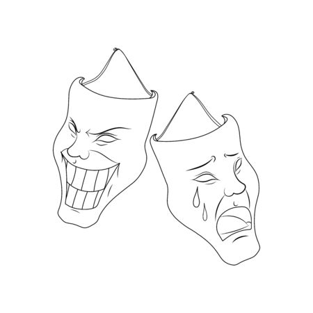 Theatrical masks, vector image. Characters of Comedy and tragedy. Classic image. Tattoo. Circuit.  イラスト・ベクター素材