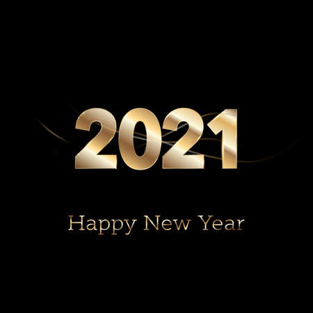 Happy New year 2021 - new year Shining background with gold numbers and glitter. Bokeh background. Stars