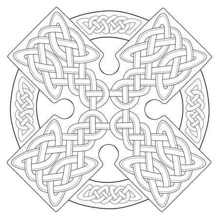 Celtic cross on a white background, EPS vector format. Tattoo, ornament. Black-white.  イラスト・ベクター素材