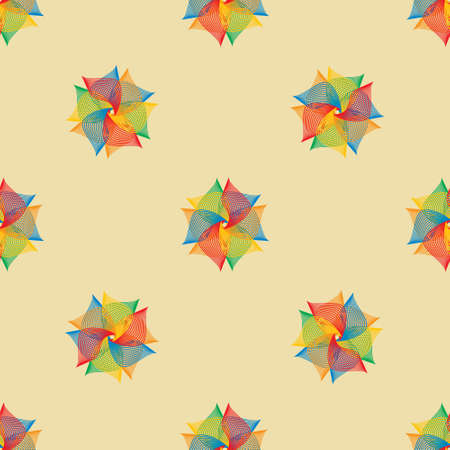 Rainbow abstract flowers, ready-made seamless pattern for fabric. Vector image.