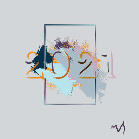 Abstraction. Greeting card. Happy new year to 2021. Pastel colors. Vector image.  イラスト・ベクター素材