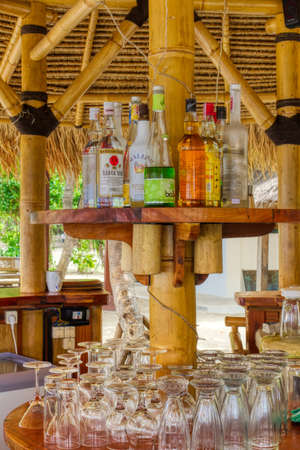 Bar on the beach of Gili Air 03.01.2017. Sunny morning after an active night. Editorial