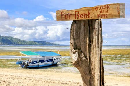 Gili Air Island in the Indian Ocean.The vicinity of the Ferry pier. Boat Rental