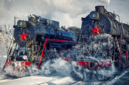 Soviet mainline freight steam locomotive L2331 of the USSR. Retro transport. Operating railway and passenger transport. It is of an entertaining nature.