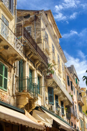 The island of Corfu. Streets of the city of Kerkyra, Ancient architecture. Summer landscape.