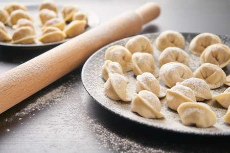 Handmade dumplings, homemade cooking. Russian cuisine. Foto de archivo