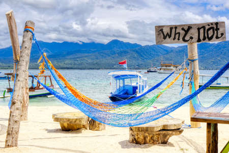 Gili Air Island in the Indian Ocean. 03.01.2017 Beach comfort. Scenery for the beach. Made by hand. Editorial