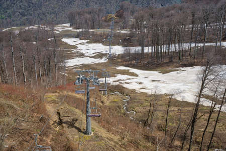 Cable car, lift to the top. Downhill skiing. Extreme sports. Caucasus mountains. Russia Sochi.