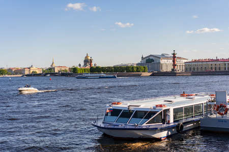 Walking tourist boat, cruises through the canals of the city with a guide. Russia Saint Petersburg 14.45
