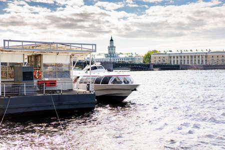 High-speed water transport Meteor. It runs from St. Petersburg to Kronstadt. Russia Saint Petersburg pm 18.45