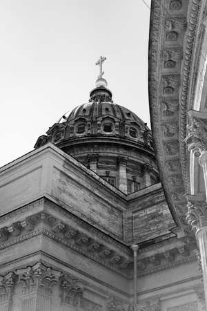 Kazan Cathedral, selected elements. Black And White Photo. Historical monument, an active Orthodox church in the center of St. Petersburg, Russia. 29.05.2021 pm 14.00