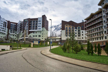 Sochi Olympic Village Russia 04/29/2021 Hotel-type buildings for the accommodation of national athletes. Now tourist hotels. Редакционное